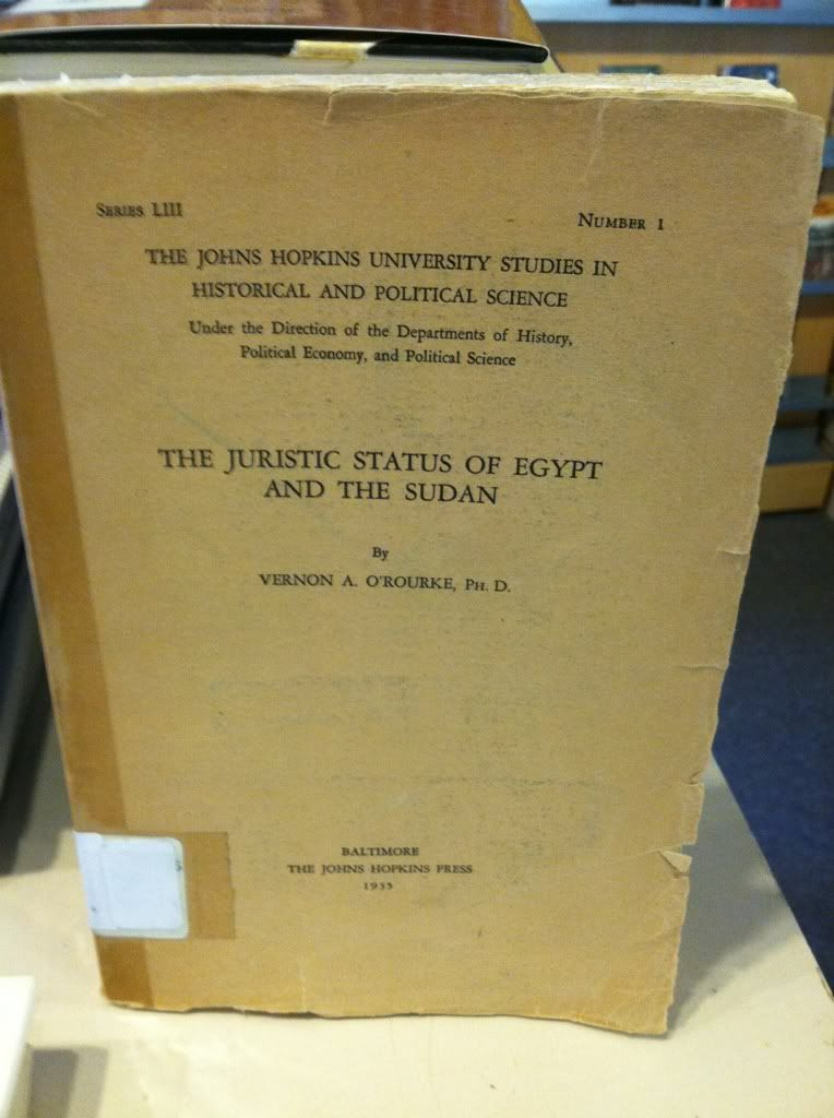 Image for The Juristic Status of Egypt and the Sudan by O'Rourke, Vernon A by O'Rourke, Vernon A